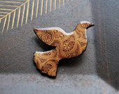 Dove brooch with Indian paisley pattern - animalistic brooch with pattern. Fall, Autumn, Coffee, Brown, India, Gift under 20