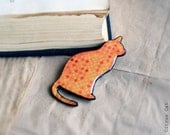 Orange polka dot Cat Brooch - animalistic brooch with pattern. Fall, Autumn, Gift, Fashion, Orange, tangerine
