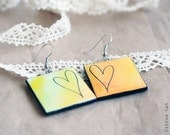 Hand drawn Heart double-faced earrings - Watercolor jewelry. Variegated, color, vintage, lace, yellow, orange, juicy, cute. Gift under 15