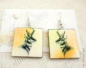 Antelope earrings - Watercolor jewelry.