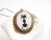 RESERVED - Black cat necklace
