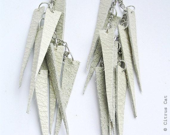 Ivory leather long earrings. OOAK