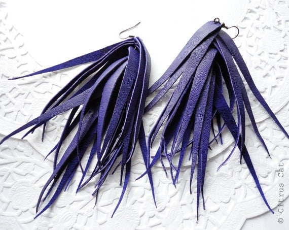 Rock style purple leather fringes earrings, purple aerrings, autumn, winter jewelry, long earrings, halloween jewelry, witch jewelry,