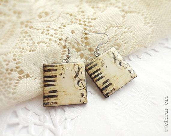 Vintage piano music  earrings