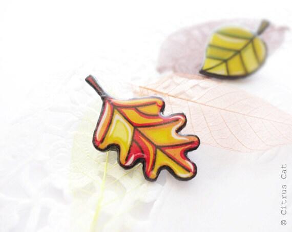 Oak leaf brooch  - Autumn jewelry