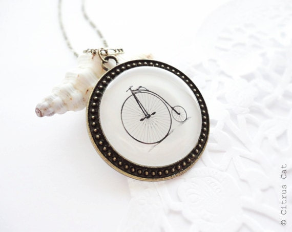 SALE - Vintage bicycle necklace - penny farthing victorian bike