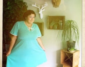 Plus-Size turquoise empire waist A-line Pin-Up dress