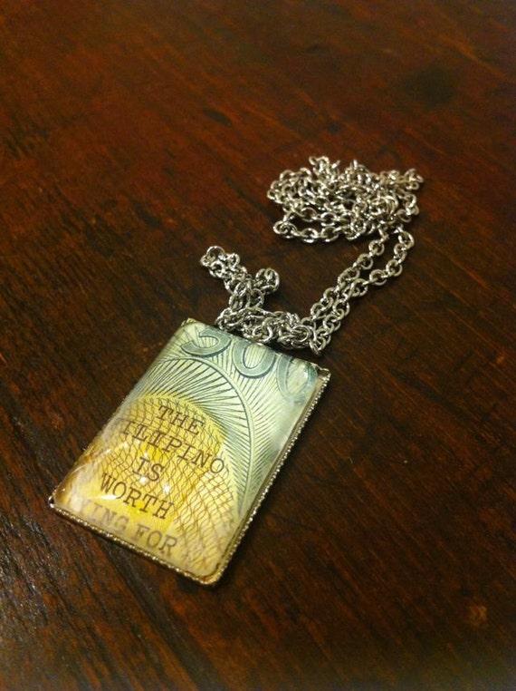 Filipino Pride Paper Money Necklace with Chain