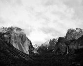 Yosemite National Park Photo - Black and White Wall Decor, Snowcapped Mountain Landscape Wall Art, Travel Photography, Woodland