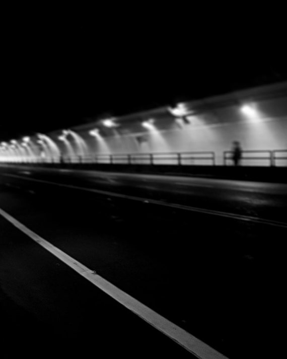 All Roads Lead To - Surreal Photo Wall Art, City Noir, Black and White Wall Decor, Silhouette, Modern Urban Street Photo Print