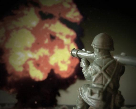 War Games No. 7 - Toy Soldier Wall Art, Pop Surrealism, Modern Art Decor, Military Man, Huge Bazooka, Huge Explosion
