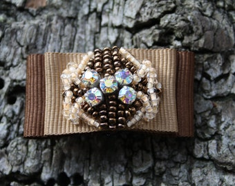 Brown beaded brooch with Swarovski crystals FREE UK SHIPPING