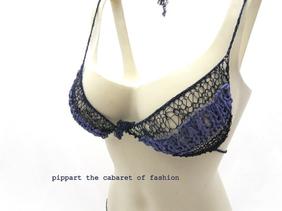 SPECIAL OFFER hand knitted dark blue lingerie bra and panties , handmade from luxury elastic, size S- M , comfortable, perfect gift for HER