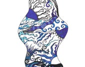 """Original pen and ink drawing, abstract blue design  """"Sapphire"""""""