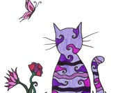 "Colorful cat art print, purple cat, abstract details and flowers  ""purple cat in the grass"""