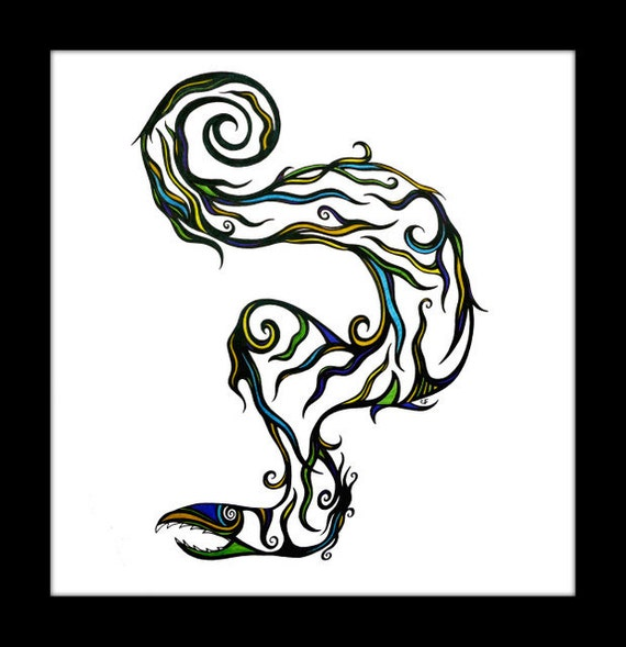 """Original pen and ink drawing, abstract art  """"Electric Eel"""""""
