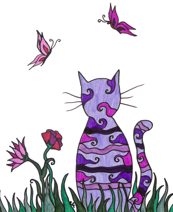 """Colorful cat art print, purple cat, abstract details and flowers  """"purple cat in the grass"""""""
