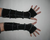 Understated Black and Gray Recycled Armwarmers