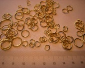 100 pcs Mix golden tone Jump Rings, sizes from 4mm to 20mm