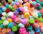 50 Resin Rose Cabochon 10mm diameter, Mixed colors, colorful small roses