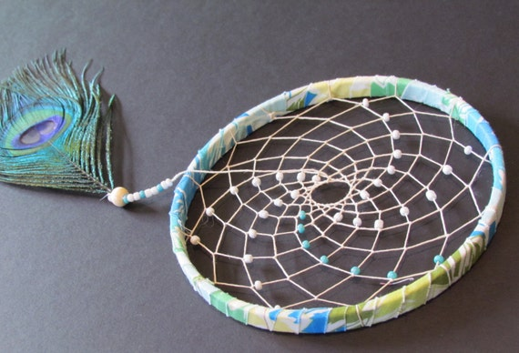 sale - Dream Catcher- Blue Sunburst dream catcher- peacock feather dream catcher - modern dream catcher - mobile