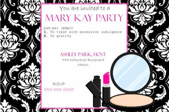 Items Similar To Pink And Black Party Invitation Mary Kay
