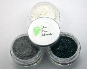 Intensiv blaues Auge Schatten Trio - Cruelty Free Mineral Lidschatten - 3 g des Produkts in jeder 10g Sieb Glas
