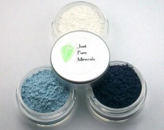 Intensiven blauen Lidschatten Trio - Cruelty Free Mineral Lidschatten - 3 g des Produkts in jeder 10g Querstromsichter Glas