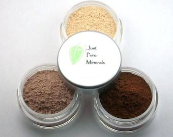 Natürliche braune Lidschatten Trio - Cruelty Free Mineral Lidschatten - 3 g des Produkts in jeder 10g Sieb Glas