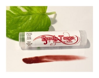 Vegan Tinted Lip Balm - Barely Tango -  Sheer, Deep Red Moisturizing Tinted Lip Balm