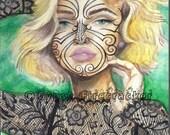 Woman with Maori Inspired Tattoos - Watercolor print