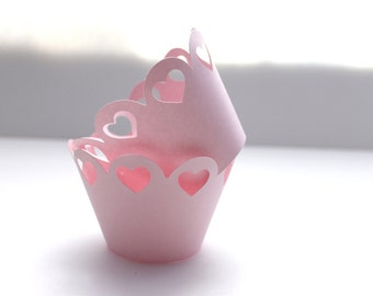 Adorable Scallop Heart Cupcake Wrapper (Set of 12)