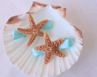 Turquoise Starfish Mermaid Barrettes for Beach Wedding