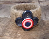Jute and vintage button bracelet cuff small
