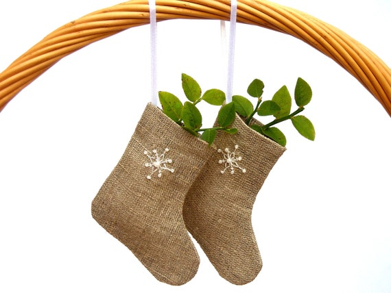 Christmas ornaments - 3 Linen Mini burlap stockings