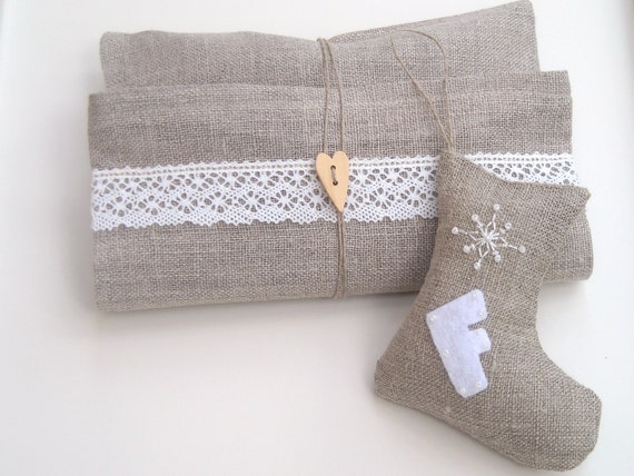 Christmas ornaments burlap stockings. Personalized decorations. Set of 2.