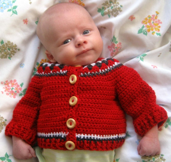 Red Baby Cardigan - Boy or Girl - 0-3 months