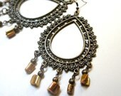 Relic, earrings - aged bronze and mother of pearl beads aurora borealis