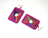 Azteca, Earrings - multicolor silk threads on a wooden base in fuchsia, rectangular