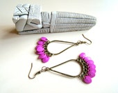 Latino, Earrings - aged bronze drop with purple textured beads