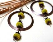 Simple Earrings - aged bronze disc and velvet green beads