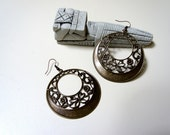 Filigree Disc Earrings - aged bronze, filigree
