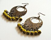 Cocoon Earrings - aged bronze and velvet green beads