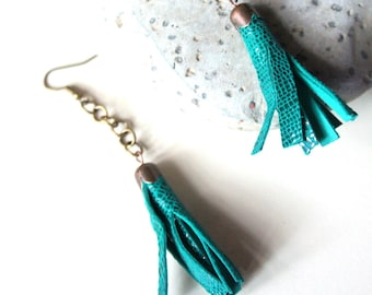 December, Earrings - aged bronze chain and green animal print leather