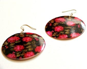 Flowers Earrings - printed disc earrings