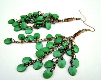 Branches, Earrings- aged bronze chains, glass cube beads and textured green beads