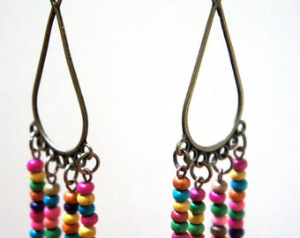 Drops of Color, Earrings - aged bronze and colorful wooden beads