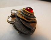 Dragon's Breath Opal Glass Brass Green Enamel Convertible Pendant Pin