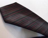 2 in Skinny Tie Dacron Superba Cranberry Taupe Gray Stripe