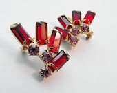 Red Rhinestone Scatter Pins with Pink Accents